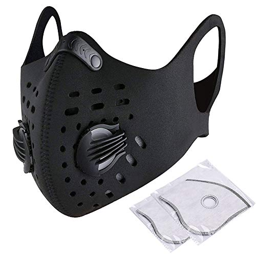 Dustproof Masks, Activated Carbon Face Filtration Respirator with Earloop, Air Valves & Extra Filter Sheet, Anti Pollution Dust Face Mask for Exhaust Gas, Pollen Allergy, PM2.5 ()