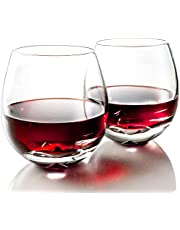 MOFADO Crystal Stemless Wine Glasses - Classic Elegance - Hand Blown Crystal - 15oz (Set of 2) - For Red and White Wine - Beautiful Gift for Any Occasion