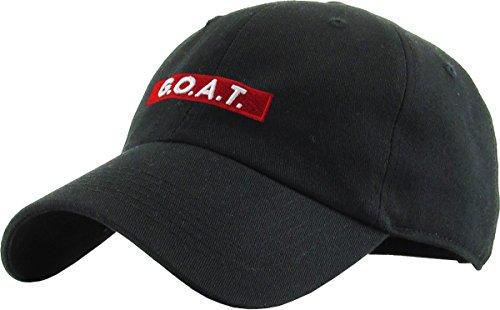 KBSV-095 BLK Goat Dad Hat Baseball Cap Polo Style Adjustable