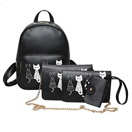 4Pcs/Set Backpack Women Cat Printing Backpack PU Leather Bookbags