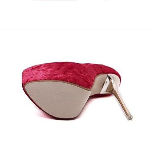 L@YC Frauen-Glanzleder wasserdichte hohe Abs?tze spitzte bequeme einzelne Schuhe Partei / Kleid / Schwarzes / Grau / Aprikose / Rot Red