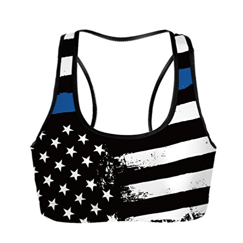 American Zebra Line - PopKindom Women's American Thin Blue Line Flag Racerback Sport Bra Training Bra Yoga Crop Tank Tops