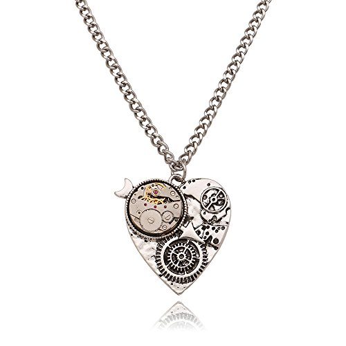 LuReen Steampunk Heart Watch Gear Pendant Necklace Vintage Antique Silver Long Chain Statement Necklace from LuReen