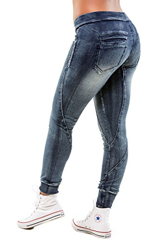 Women's Blue Knit Vintage Wash Curved Seam Denim Jogger Pant from Poetic Justice Size Large