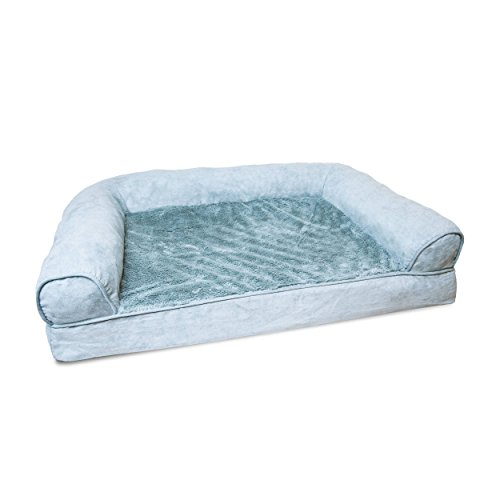 1 Piece Deep Pool Orthopedic Bolster Extra Large 44 Inches Plush Suede Comfort Pet Bed, Light Blue Color Sofa-style Ortho Dog Foam Bedding Removable Cover Water Stain Resistant, Durable Polyester Style Dog Box