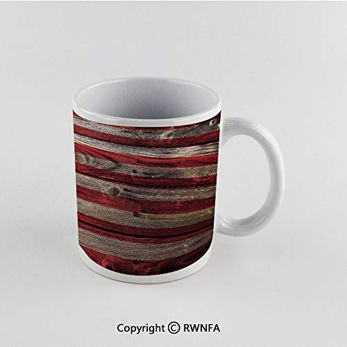 11oz Unique Present Mother Day Personalized Gifts Coffee Mug Tea Cup White Rustic American USA Flag,Fourth of July Independence Day Weathered Retro Wood Wall Looking Country Emblem, Funny Ceramic Cof