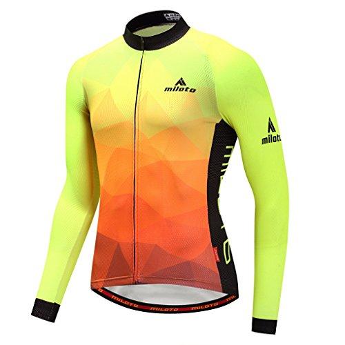 (YIDUN Men's Cycling Jersey Long Sleeve Reflective Fluorescence Size XL(CN))