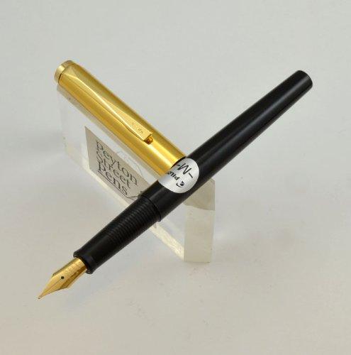 Pilot Fountain Pen 1970s New Old Stock - Black w Gold Cap (Medium)