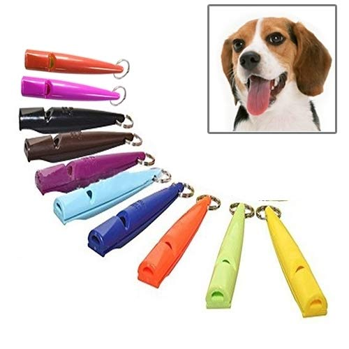 VAXT Random Gloss Delivery, Aim 10 PCS Dog Horse Whistle Stop Barking Mute Pet Training Whistle with Key Chain by VAXT (Image #5)