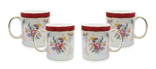 - Royalty Porcelain Tea Cup/Mug, 24K Gold Czech Porcelain (4, Floral Red)