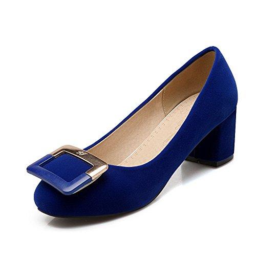 AllhqFashion Damen Mattglasbirne Rund Zehe Mittler Absatz Ziehen auf Rein Pumps Schuhe Blau