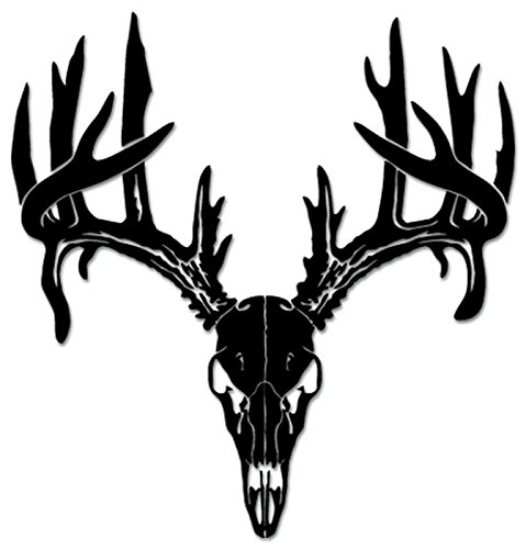 Deer Buck Antlers Hunting Vinyl Decal Sticker For Vehicle Car Truck Window Bumper Wall Decor - [15 inch/38 cm Tall] - Matte BLACK Color