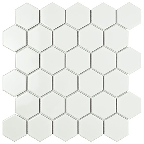 SomerTile FXLM2HGW Retro Hex Porcelain Floor and Wall Tile, 10.5