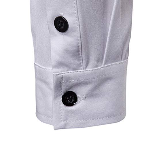 Mode Piebo Hiver Taille Longues Décontracté Poche Grande Blanc Chemises Chemise Printemps Manches Chemisier Hommes De Unie À Pour Blouse 7qI7BxPwrT