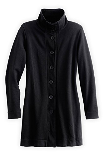 Fashion Fair Trade (Fair Indigo Fair Trade Organic Cotton Fleece Funnel Neck Jacket (XS, Black))