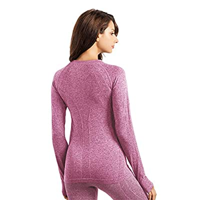 +MD Women's Seamless Crew Neck Long Sleeve T-Shirt Thumb Hole Thermal Underwear Shirt Base Layer Top Tee at Amazon Women's Clothing store