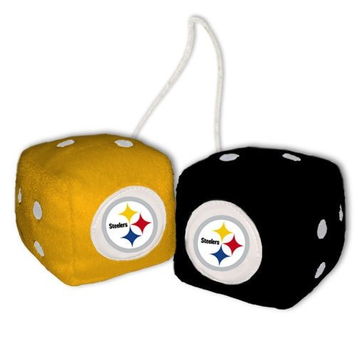 Pittsburgh Steelers Fuzzy Dice (NFL Pittsburgh Steelers Fuzzy Dice,one black, one gold w/ logo,3
