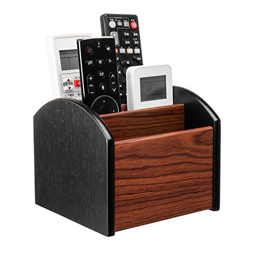 Liry Products Revolving Wooden Desk Organizer 4 Compartment Remote Control Holder Brown Black Spinning Office Supplies…