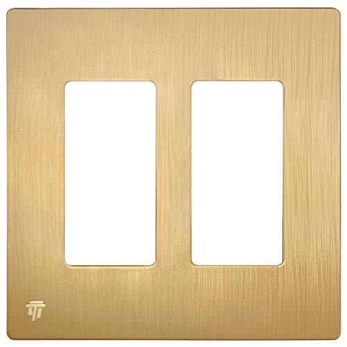 ENERLITES Elite Series Screwless Decorator Wall Plate Child Safe Outlet Cover, Size 2-Gang 4.68