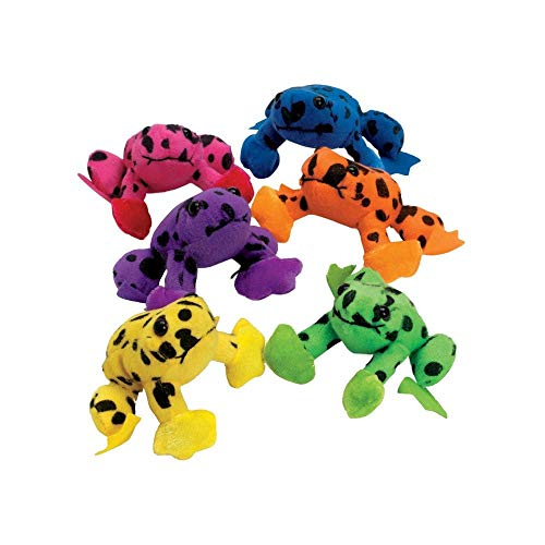 Fun Express Plush Spotted Neon Frogs (1 dz) ()