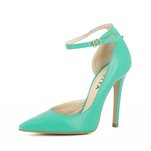 Lisa Femme Shoes Evita Escarpins Vert Cuir Semi Ouverts Lisse COvvndx5