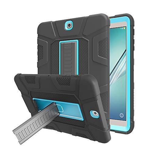 Samsung Galaxy Tab S2 9.7 inch Case, DETUOSI Shockproof Rugged Armor Full-Body Kickstand Protective Case Cover for Samsung Galaxy Tab S2 9.7'' SM-T810 T815 T813,Black&Blue Black