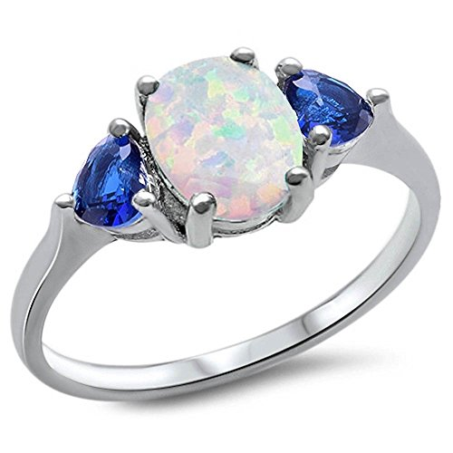 Oxford Diamond Co Sterling Silver Oval Lab Created White Opal & Blue Simulated Sapphire Heart Ring Sizes 8