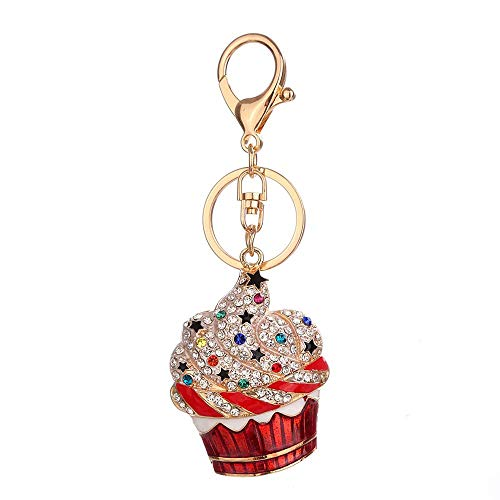 Elegant Cake Pendant Charms Keychain Rust Resistant Alloy & Crystals Keyring Unique Backpack Handbag Purse Mobile Bling-Bling Decoration Gadgets Accessories (Red, One) (Bag Gadget 1)