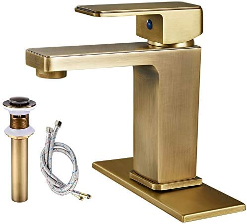 Antique Brass Bathroom Sink Faucet Single Handle Lavatory Mixer Tap Deck Mount 1 Hole Include Pop Up Drain with Overflow Commercial Square Spout