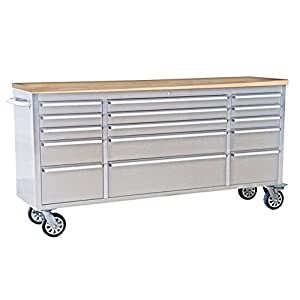 """Thor Kitchen 72"""" Wide 15 Drawer Stainless Steel Anti-Fingerprint Tool Chest with Work Station"""