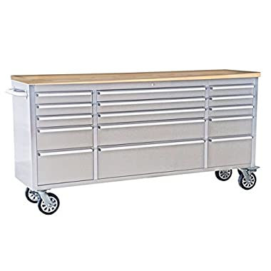 72  Wide 15 Drawer Stainless Steel Anti-Fingerprint Tool Chest with Work Station