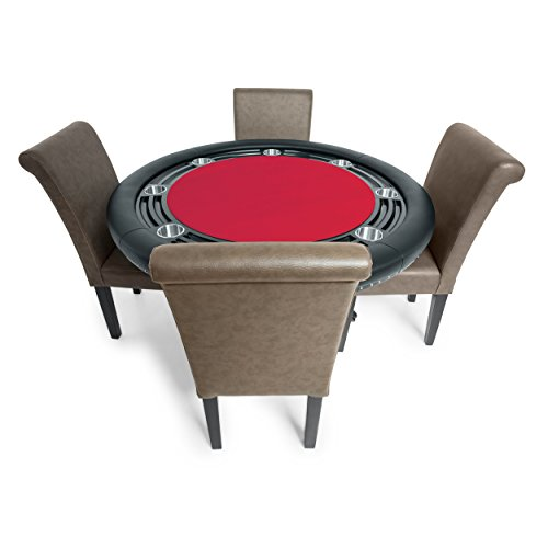 BBO Poker Nighthawk Poker Table for 8 Players with Red Felt Playing Surface, 55-Inch Round, Includes 4 Lounge Chairs