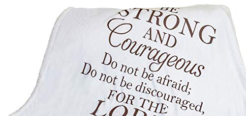 Double Creek Joshua 1:9 Scripture Throw Blanket - Ultra Soft Sherpa Fleece Microfiber Inspirational Faith Blanket for Bed Couch Chair - Healing Get Well Gift for Men Women Cancer Patients