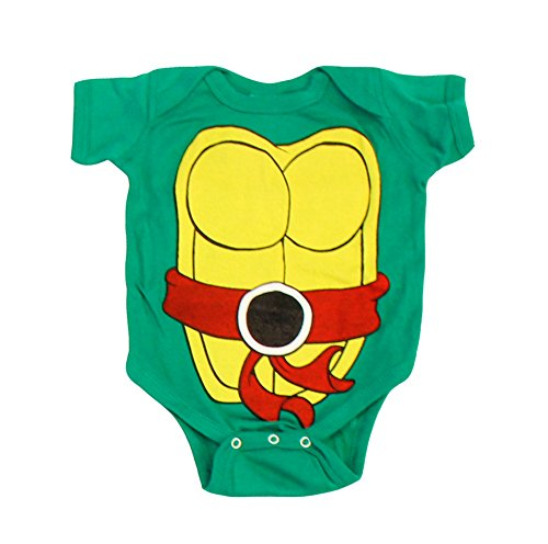 Teenage Mutant Ninja Turtles Green Raphael Costume Infant Baby Onesie Romper (Red Belt) (6 Months) -