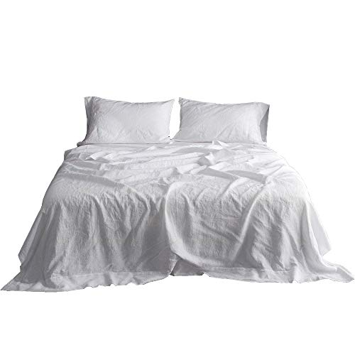 Simple&Opulence 100% Linen Sheet Set Embroidery (Queen, White)