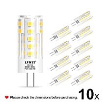 LVWIT 10 Pack 5W G4 LED Light Bulb 12V AC/DC Daylight 6000K 400 Lumens Non-dimmable LED Bulbs Equivalent to 50W Halogen Track Bulb