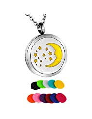 HooAMI Crescent Moon with Star Aromatherapy Essential Oil Diffuser Necklace Pendant Locket Jewelry Gift Set