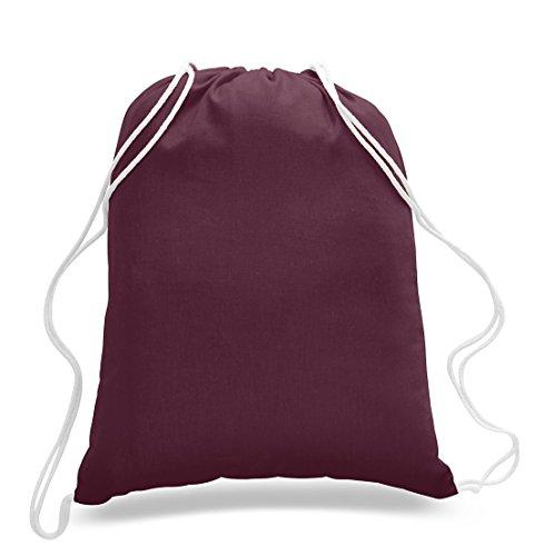 (12 Pack) 1 Dozen - Durable Cotton Drawstring Tote Bags (Maroon) ()