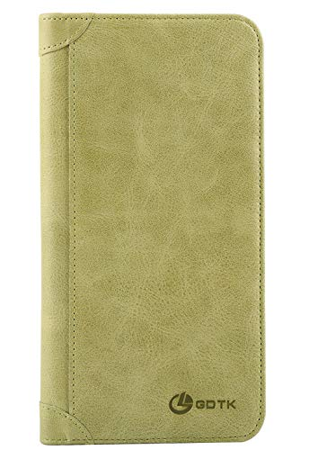 Women's Wallet - Genuine Italian Leather Long Bifold RFID Blocking Wallet (Matcha - Genuine Italian Card Holder Leather