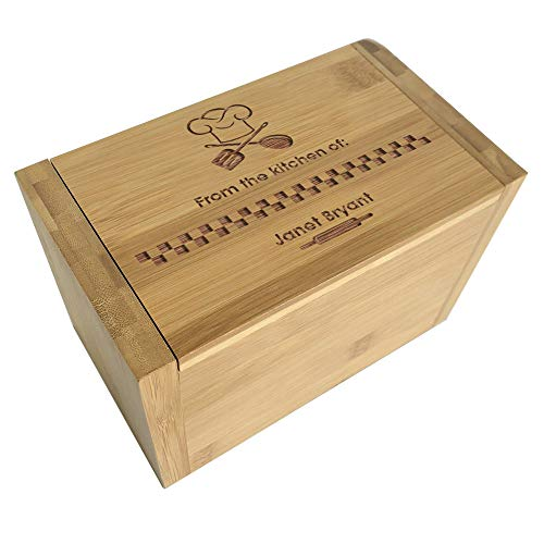 (From The Kitchen Of Personalized Recipe Box, Engraved, Maple Wood)