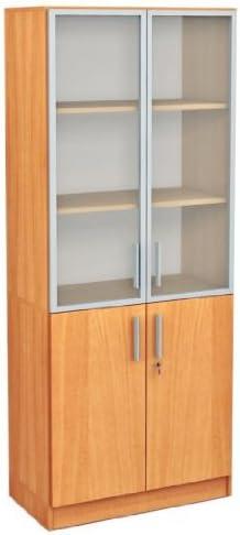 Office Hohes vitrina estante 5oh con puertas de cristal y marco de aluminio buche: Amazon.es: Bebé