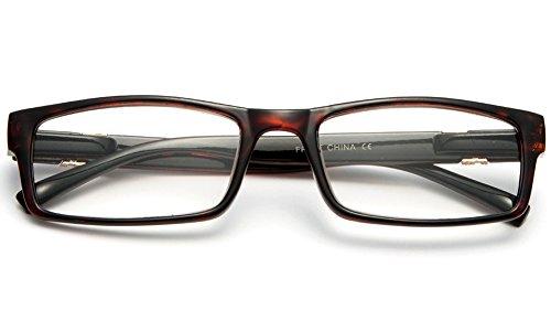 Newbee Fashion - Unisex Slim Fit Temple Design Metal Frame Clear Lens Glasses Tortoise
