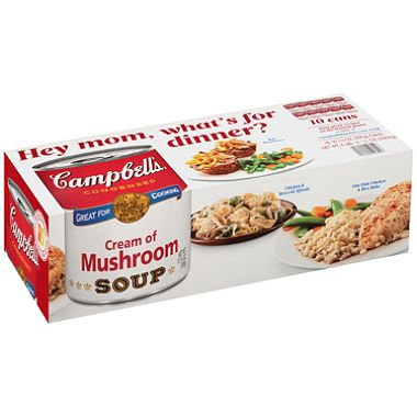 Campbell's Condensed Cream of Mushroom Soup (10.75 oz., 10 pk.) (pack of 6) by Campbell's
