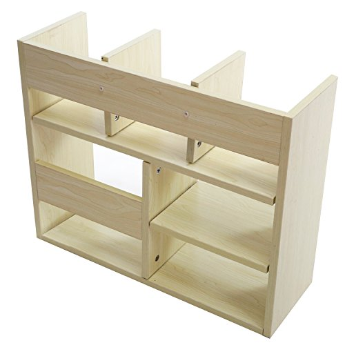 Freestanding Wood Tabletop Bookcase, Office Desktop Organizer Shelf With 6  Compartments, Beige
