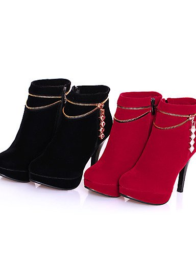 Punta Ante Zapatos Botas Black Vestido Mujer Tacón A De Negro Xzz Rojo Casual Cn41 La Uk7 Sintético Stiletto us9 Redonda Red Eu40 us9 Moda xXwp0qO