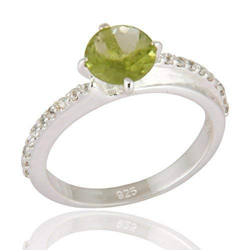 Green Peridot Prong Set Sterling Silver Engagement Ring- August Birthstone