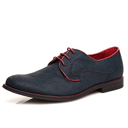XPER Men's Oxford Flats Suede Leather Lace up Round Toe Casual Comfortable Dress Shoes, Blue/Black by XPER