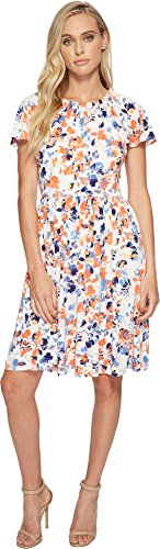 London Times Women's Brush Blossom Raglan Full Skirt Dress Orange Multi 12