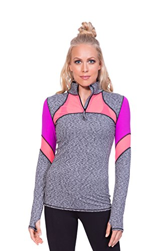 TLF Apparel Women's Workout Route Long Sleeve Shirt, Ash Color Blocked, Small