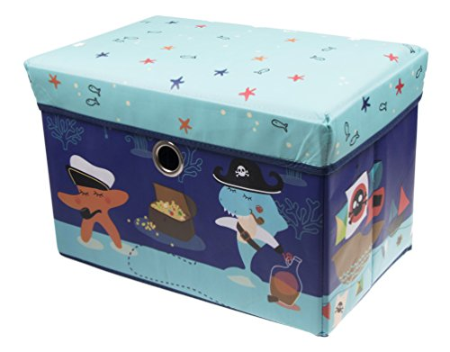 Underwater Sea Adventure Storage Organizer by Clever Creations | Storage Ottoman for Any Room | Perfect Size Chest for Books, Shoes, Games & - Toy Box Pirate